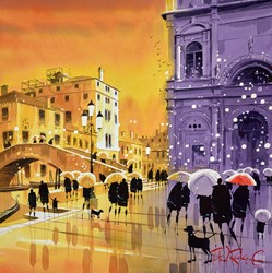 Showers in the Campo, Venice by Peter J Rodgers - Original Painting on Paper sized 20x20 inches. Available from Whitewall Galleries